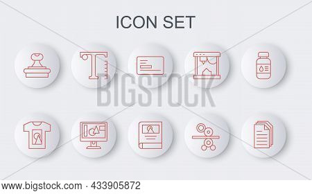 Set Line File Document, T-shirt, Business Card, Paper Roll Of Printing Press, Stamp, Text, Computer
