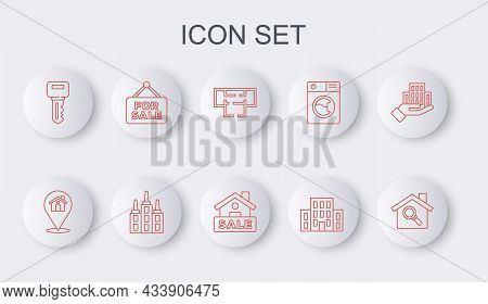 Set Line Search House, Location With, House Plan, Key, Hanging Sign For Sale, Skyscraper And Icon. V
