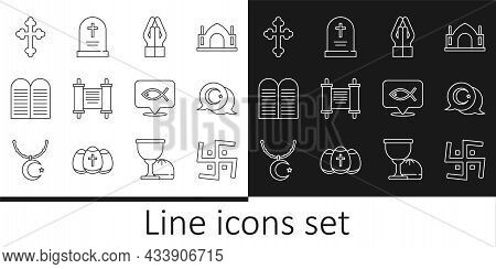 Set Line Hindu Swastika, Star And Crescent, Hands Praying Position, Decree, Paper, Parchment, Scroll