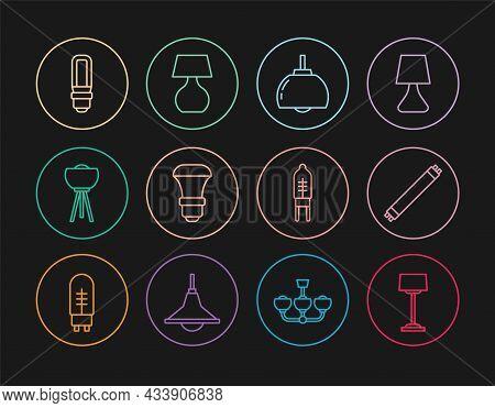 Set Line Floor Lamp, Fluorescent, Chandelier, Led Light Bulb, Light Emitting Diode And Table Icon. V