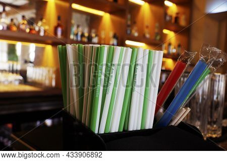 Biodegradable Wheat Or Avocado Seed Straw Presented In A Cafe Restaurant, Plastic Reduce Concept