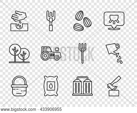 Set Line Basket, Wooden Axe, Seeds, Pack Full Of Seeds Of Plant, Tractor, Granary And Watering Can I