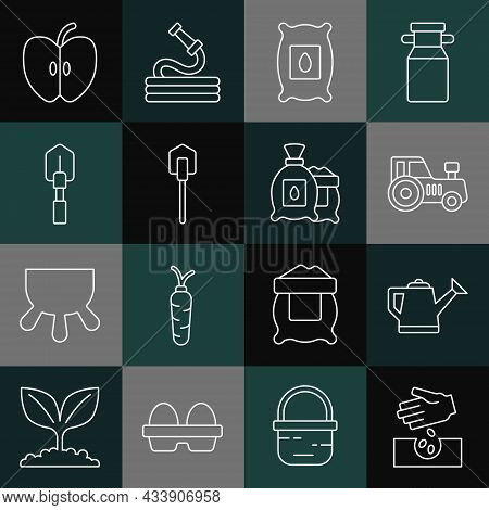 Set Line Seeds, Watering Can, Tractor, Pack Full Of Seeds Of Plant, Shovel, Apple And Icon. Vector