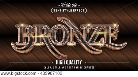 Editable Text Style Effect - Bronze Text Style Theme. Graphic Design Element.