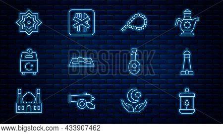 Set Line Ramadan Kareem Lantern, Mosque Tower Or Minaret, Rosary Beads Religion, Muslim Man Prays, D