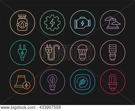 Set Line Led Light Bulb, Check Engine, Electric Plug, Propane Gas Tank, And Gear And Lightning Icon.