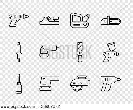 Set Line Screwdriver, Electric Cordless Screwdriver, Planer Tool, Sander, Circular Saw And Paint Spr