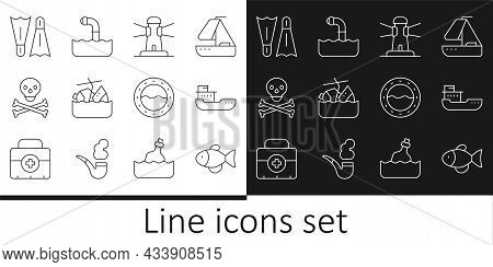 Set Line Fish, Cargo Ship, Lighthouse, Sinking Cruise, Skull On Crossbones, Flippers For Swimming, S