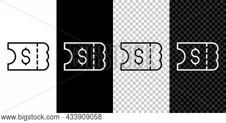 Set Line Lottery Ticket Icon Isolated On Black And White, Transparent Background. Bingo, Lotto, Cash
