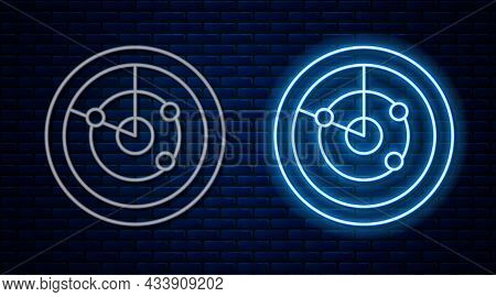 Glowing Neon Line Radar With Targets On Monitor In Searching Icon Isolated On Brick Wall Background.