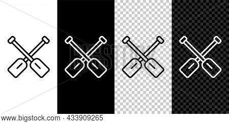 Set Line Paddle Icon Isolated On Black And White, Transparent Background. Paddle Boat Oars. Vector