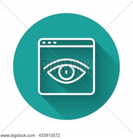 White Line Browser Incognito Window Icon Isolated With Long Shadow Background. Green Circle Button.