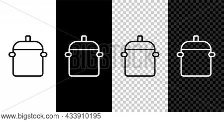 Set Line Cooking Pot Icon Isolated On Black And White, Transparent Background. Boil Or Stew Food Sym