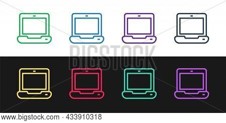 Set Line Laptop Icon Isolated On Black And White Background. Computer Notebook With Empty Screen Sig