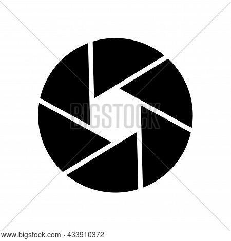 Black Camera Shutter Icon. Photography Process Emblem. Digital Art. Isolated Sign. Vector Illustrati