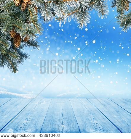 Christmas Background With Wooden Table Blue Background