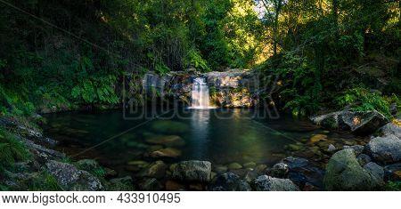 Beautiful Water Stream In Poco Da Cilha Waterfall, Manhouce, São Pedro Do Sul, Portugal. Long Exposu