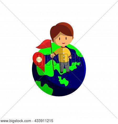 Boy Is Traveling On A Globe . Character Vector Illustration On The Theme World Tourism