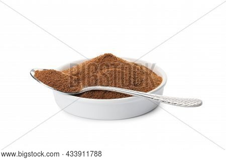 Plate And Spoon Of Chicory Powder On White Background