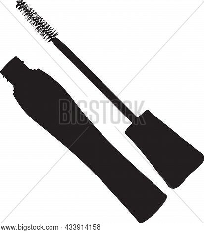 Mascara With A Brush For Applying It. Vector Illustration.