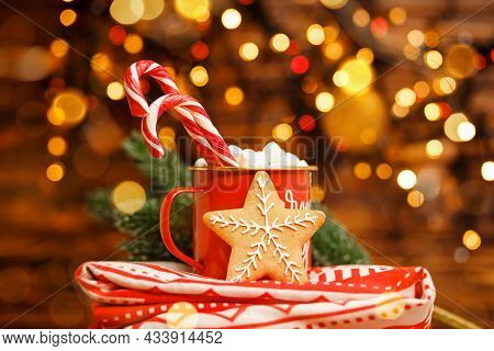Cozy Home Atmosphere. Homemade Gingerbread Cookies, Christmas Lights. Cozy Winter Composition With A