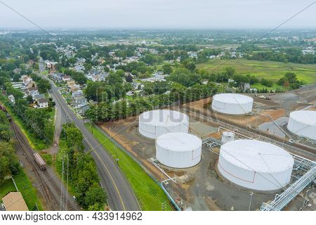 Woodbridge Nj Town Aerial Panoramic View Is A Small Town In Usa Near Oil Refinery Industrial Tank