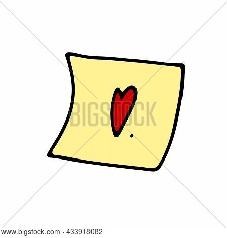 Doodle Yellow Sticker With Heart. Hand-drawn Outline Notepaper Isolated On White Background. Sign Of