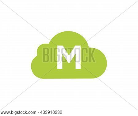Cloud Logo Design On M Letter. Letter M Cloud Logo Vector Template With White Background