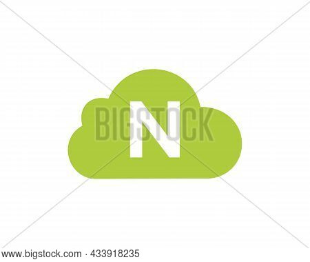 Cloud Logo Design On N Letter. Letter N Cloud Logo Vector Template With White Background