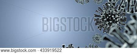 Blank Background With Virus Coronavirus Covid 19. Medicine Concept. 3d Rendering