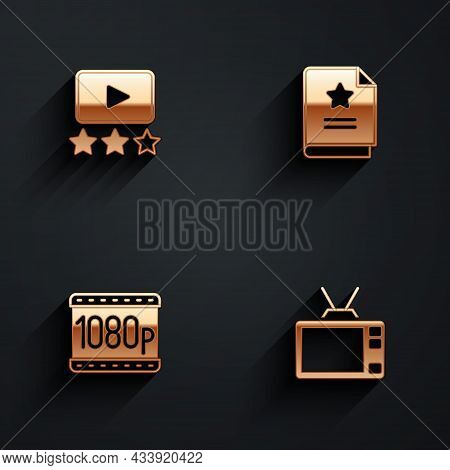 Set Rating Movie, Scenario, Full Hd 1080p And Retro Tv Icon With Long Shadow. Vector