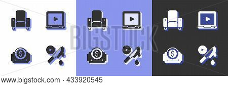 Set Thriller Movie, Cinema Chair, Ticket And Online Play Video Icon. Vector