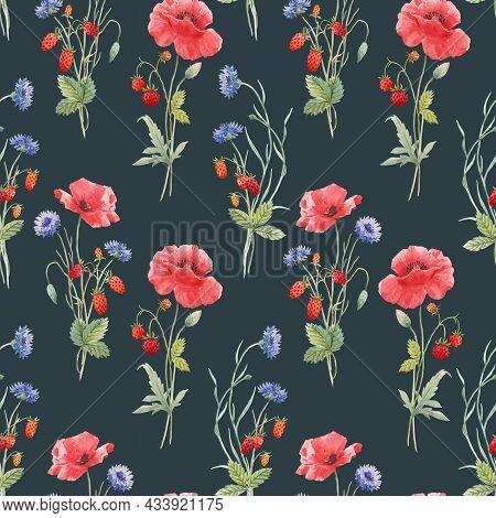 Beautiful Seamless Floral Pattern With Hand Drawn Watercolor Gentle Wild Field Flowers Cornflower Po
