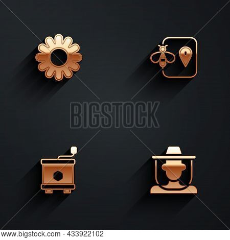 Set Flower, Bee Location, Honey Extractor And Beekeeper With Protect Hat Icon With Long Shadow. Vect