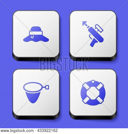 Set Fisherman Hat, Fishing Harpoon, Net And Lifebuoy Icon. White Square Button. Vector