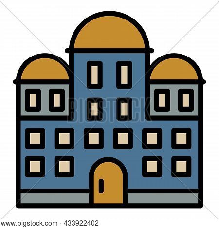 Temple Building Icon. Outline Temple Building Vector Icon Color Flat Isolated
