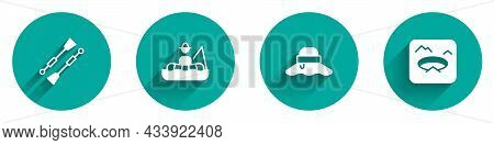 Set Oars Or Paddles Boat, Fisherman In, Hat And Winter Fishing Icon With Long Shadow. Vector