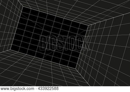 Grid Perspective Sloping Black Room. Gray Wireframe Background. Digital Cyber Box Technology Model.