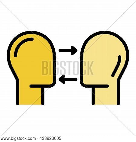 Two Heads And Arrows Icon. Outline Two Heads And Arrows Vector Icon Color Flat Isolated