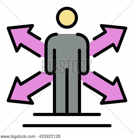 Man Arrows To The Sides Icon. Outline Man Arrows To The Sides Vector Icon Color Flat Isolated
