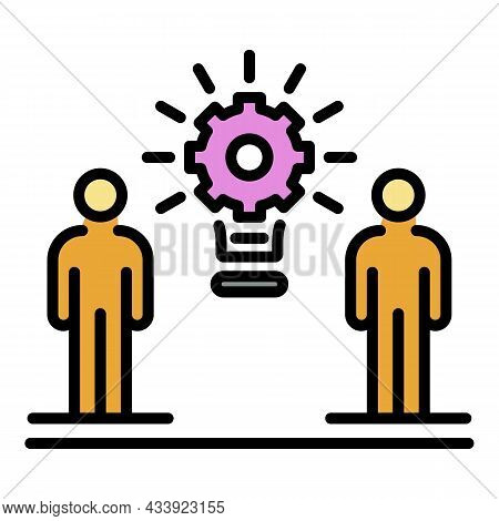 Two People And Gear Icon. Outline Two People And Gear Vector Icon Color Flat Isolated