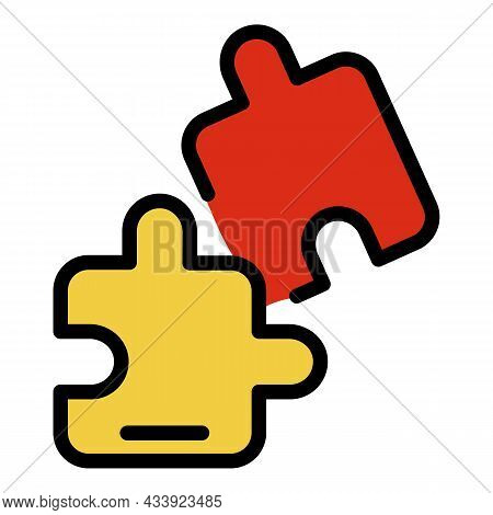 Jigsaw Part Icon. Outline Jigsaw Part Vector Icon Color Flat Isolated