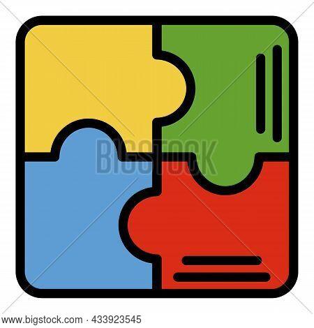 Puzzle Scheme Icon. Outline Puzzle Scheme Vector Icon Color Flat Isolated