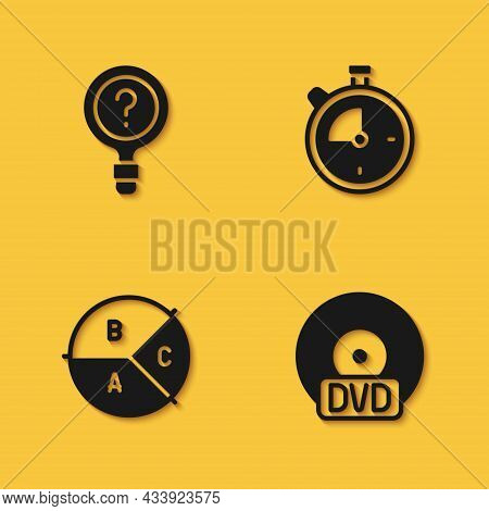 Set Unknown Search, Cd Or Dvd Disk, Pie Chart Infographic And Stopwatch Icon With Long Shadow. Vecto