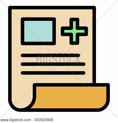 Medical Record Icon. Outline Medical Record Vector Icon Color Flat Isolated