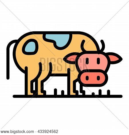 Cow Side View Icon. Outline Cow Side View Vector Icon Color Flat Isolated