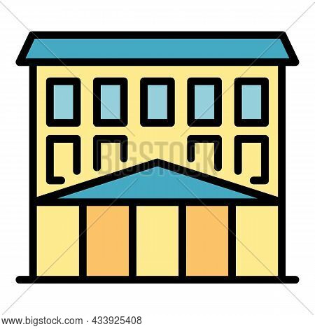 College Building Icon. Outline College Building Vector Icon Color Flat Isolated