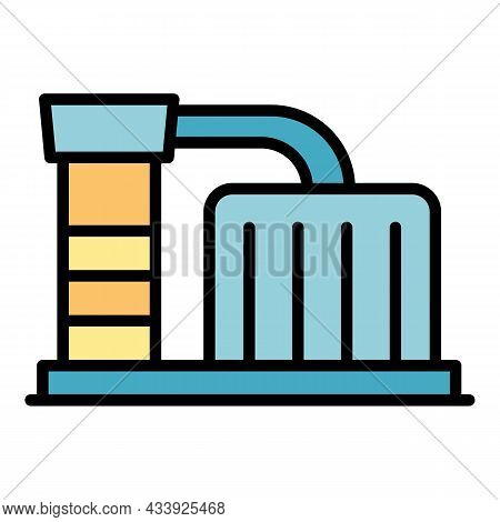 Factory Icon. Outline Factory Vector Icon Color Flat Isolated