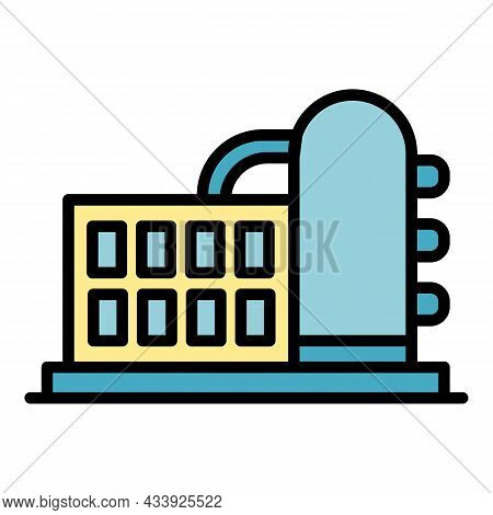 Chemical Factory Icon. Outline Chemical Factory Vector Icon Color Flat Isolated