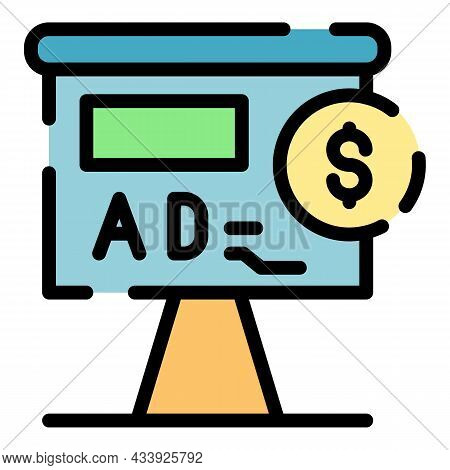 Billboard Advertising Icon. Outline Billboard Advertising Vector Icon Color Flat Isolated